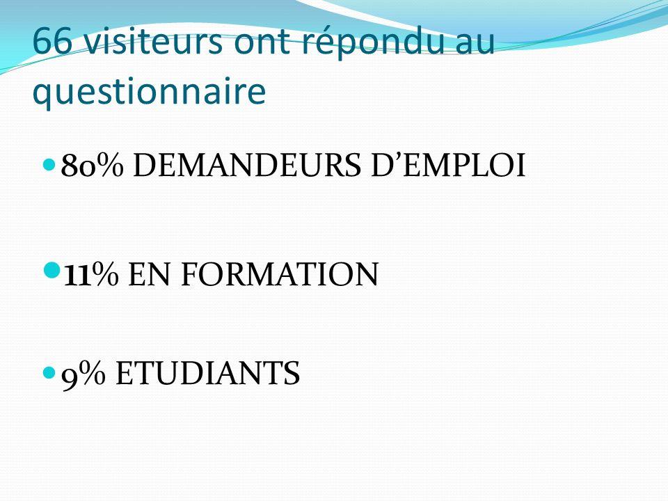 66 visiteurs ont répondu au questionnaire 80% DEMANDEURS DEMPLOI 11 % EN FORMATION 9% ETUDIANTS