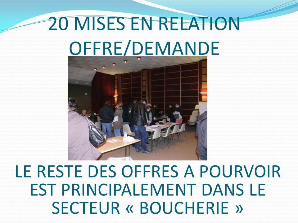 20 MISES EN RELATION OFFRE/DEMANDE LE RESTE DES OFFRES A POURVOIR EST PRINCIPALEMENT DANS LE SECTEUR « BOUCHERIE »