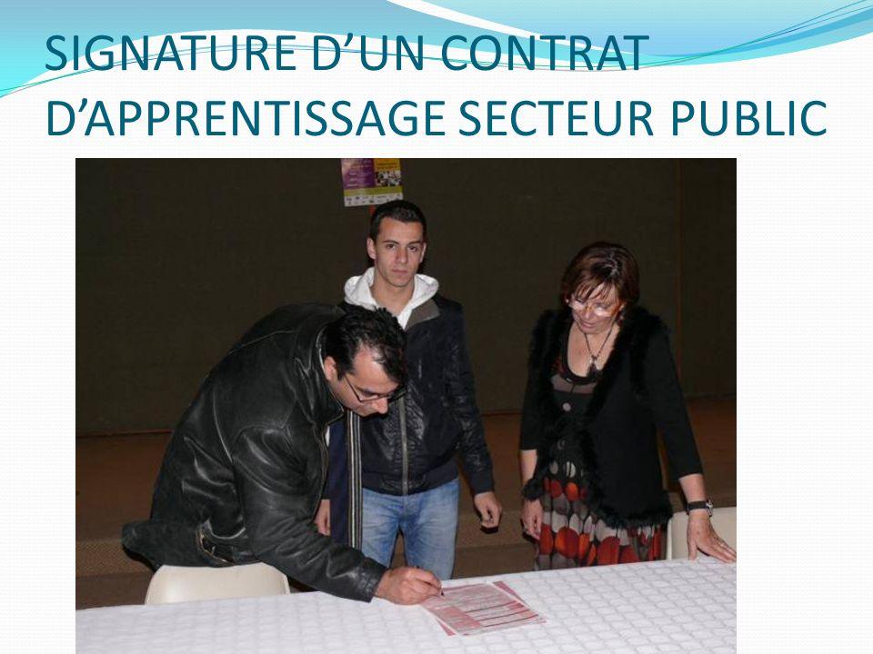 SIGNATURE DUN CONTRAT DAPPRENTISSAGE SECTEUR PUBLIC
