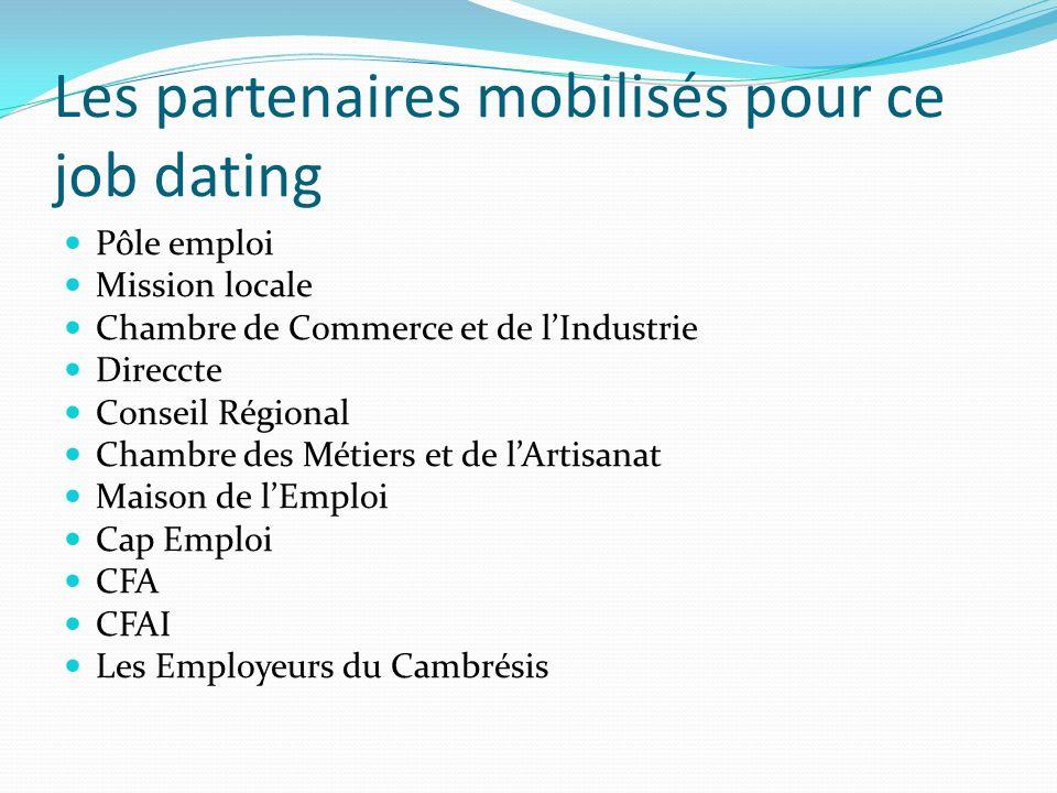 Les partenaires mobilisés pour ce job dating Pôle emploi Mission locale Chambre de Commerce et de lIndustrie Direccte Conseil Régional Chambre des Mét