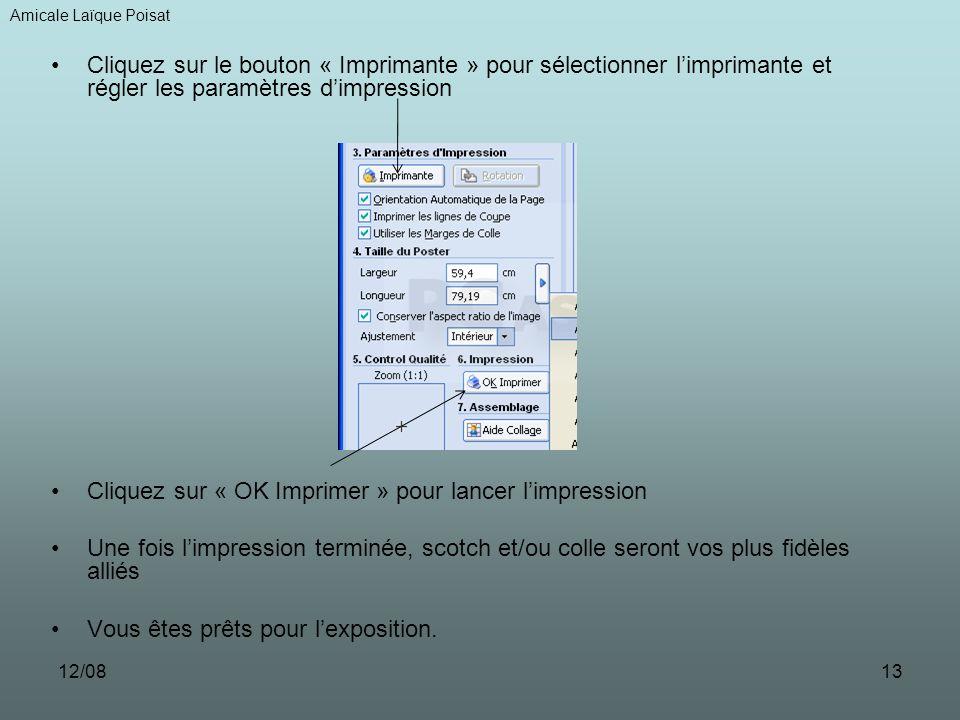 12/0813 Cliquez sur le bouton « Imprimante » pour sélectionner limprimante et régler les paramètres dimpression Cliquez sur « OK Imprimer » pour lancer limpression Une fois limpression terminée, scotch et/ou colle seront vos plus fidèles alliés Vous êtes prêts pour lexposition.
