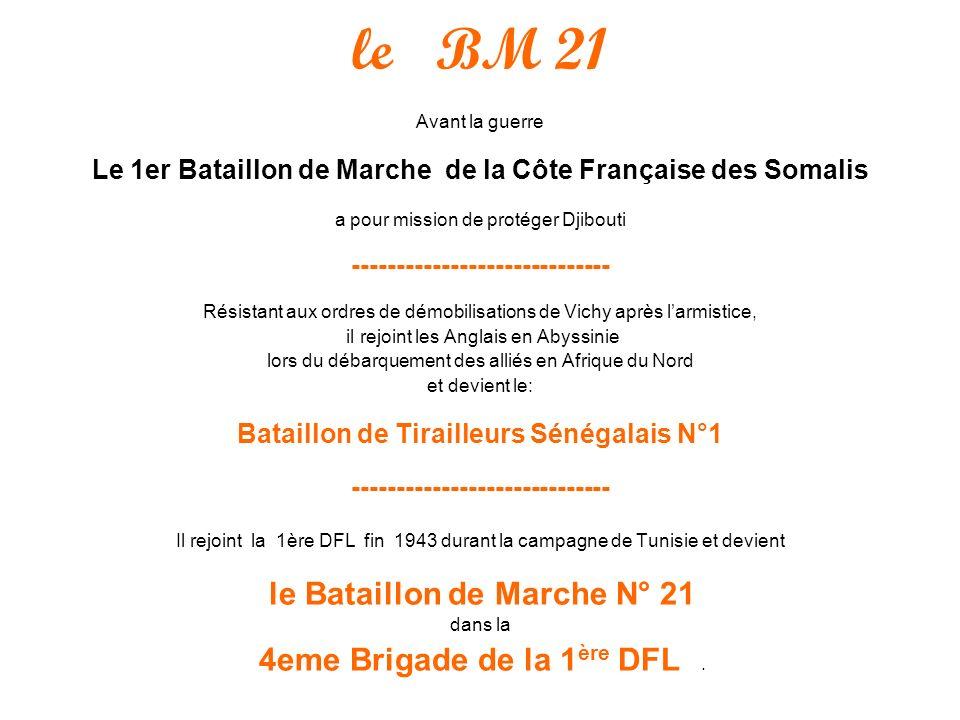 le BM 21 Avant la guerre Le 1er Bataillon de Marche de la Côte Française des Somalis a pour mission de protéger Djibouti -----------------------------