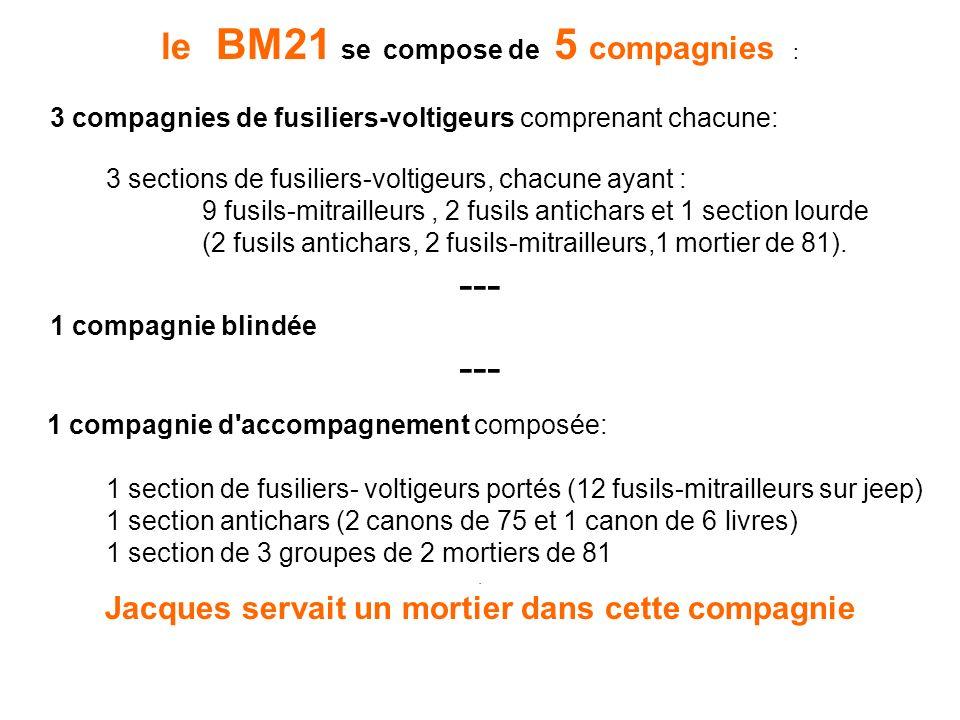 le BM21 se compose de 5 compagnies : 3 compagnies de fusiliers-voltigeurs comprenant chacune: 3 sections de fusiliers-voltigeurs, chacune ayant : 9 fu