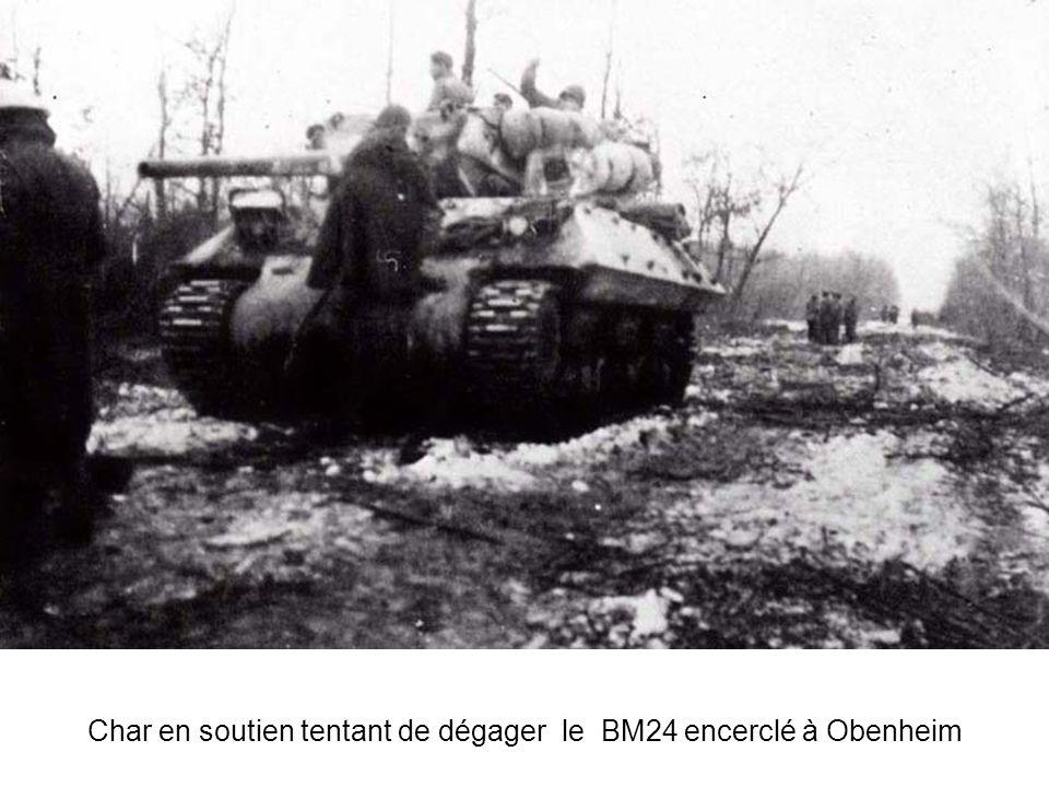 Char en soutien tentant de dégager le BM24 encerclé à Obenheim