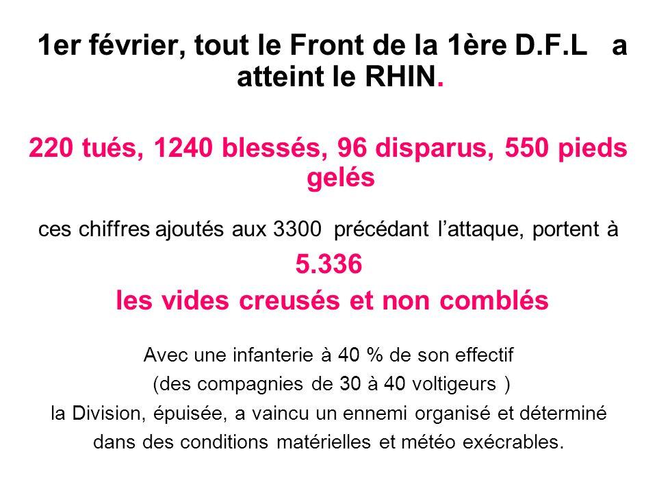 1er février, tout le Front de la 1ère D.F.L a atteint le RHIN. 220 tués, 1240 blessés, 96 disparus, 550 pieds gelés ces chiffres ajoutés aux 3300 préc