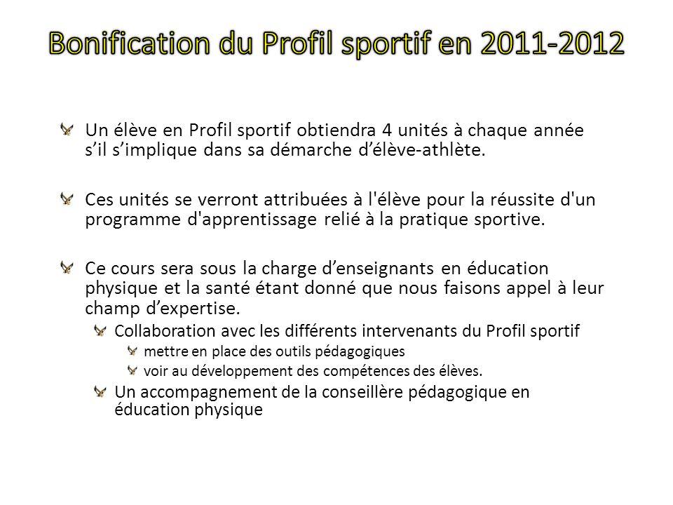 Un élève en Profil sportif obtiendra 4 unités à chaque année sil simplique dans sa démarche délève-athlète.
