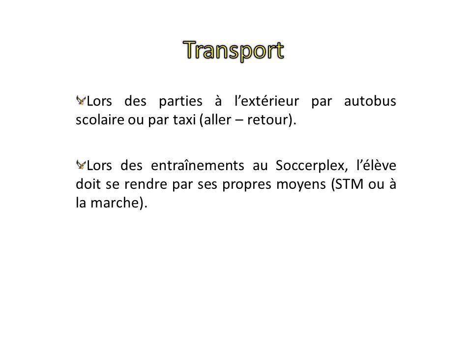 Lors des parties à lextérieur par autobus scolaire ou par taxi (aller – retour). Lors des entraînements au Soccerplex, lélève doit se rendre par ses p