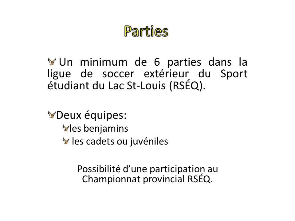 Un minimum de 6 parties dans la ligue de soccer extérieur du Sport étudiant du Lac St-Louis (RSÉQ). Deux équipes: les benjamins les cadets ou juvénile