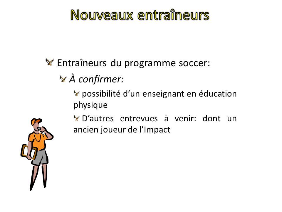 Entraîneurs du programme soccer: À confirmer: possibilité dun enseignant en éducation physique Dautres entrevues à venir: dont un ancien joueur de lImpact