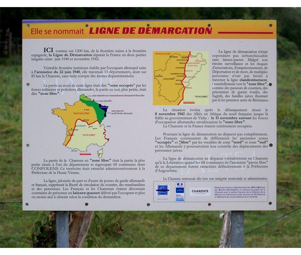Article Sud-Ouest Publié le 09/09/2013 à 06h00 Par Didier Faucard La Ligne passait par Combiers Un panneau rappelant le passage de la Ligne de démarcation dans le village a été inauguré samedi matin.