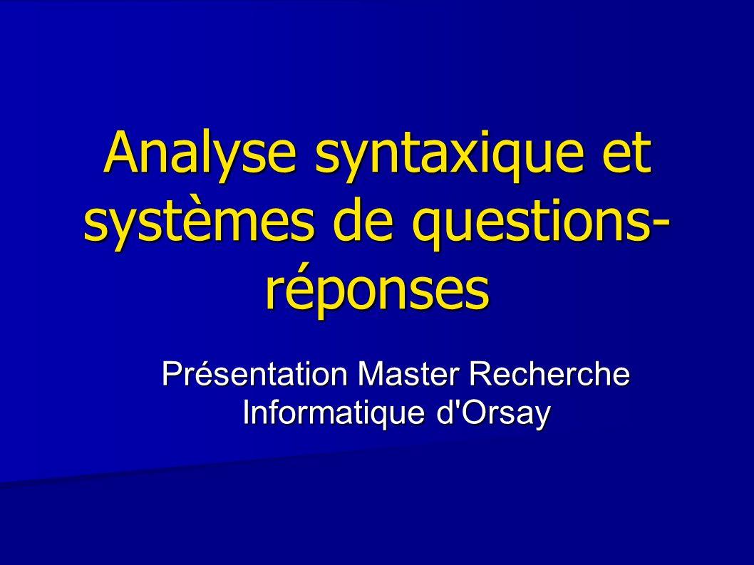 52 Utilisation des informations lors de la recherche de la réponse o Patrons syntaxiques Question : What does Knight Ridder publish.