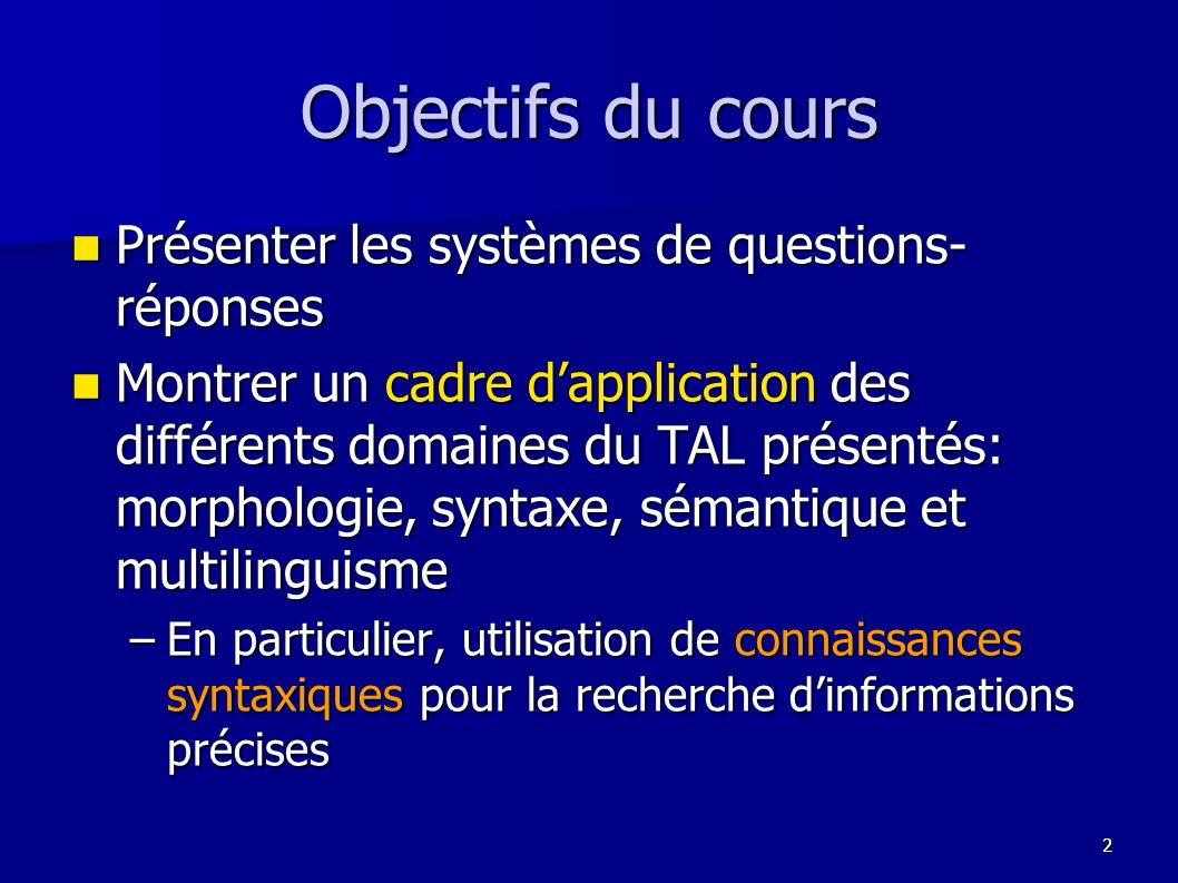 53 o XIP, un analyseur robuste o Les systèmes de questions-réponses Etude du système QALC Etude du système QALC oAnalyse des questions oAnalyse des phrases candidates Résultats Résultats oExemple dappariement syntaxique oEvolution du domaine et perspectives