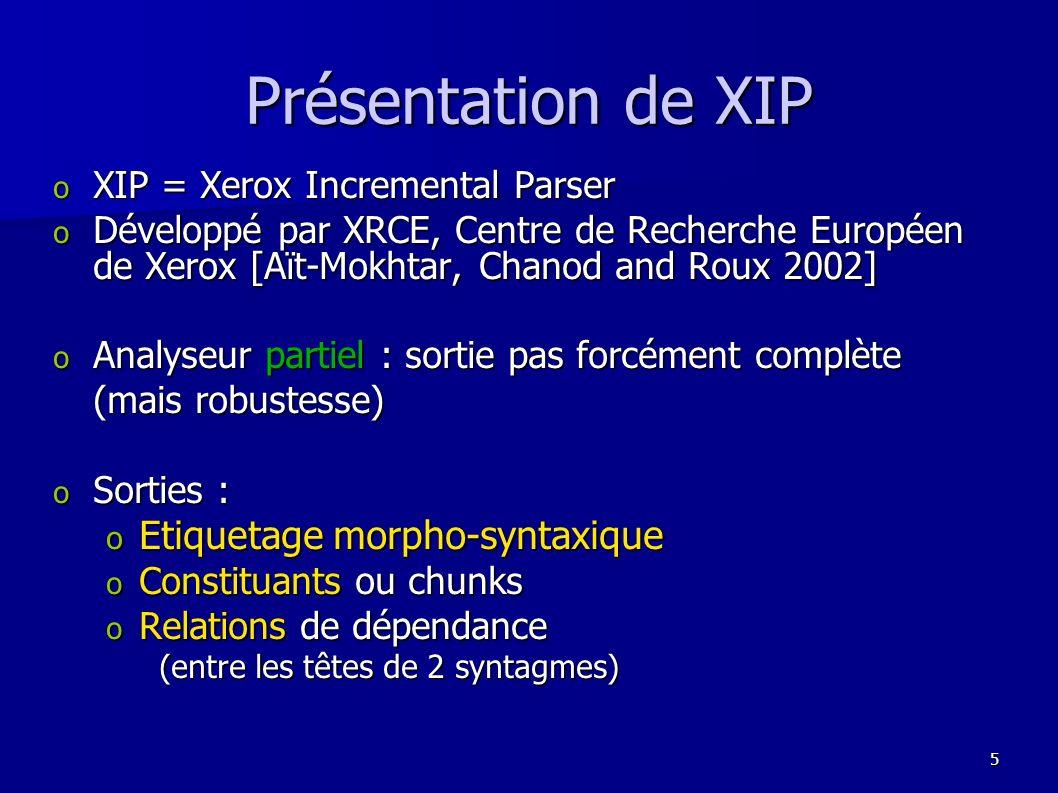 56 oXIP, un analyseur robuste oLes systèmes de questions-réponses oEtude du système QALC Exemple dappariement syntaxique Exemple dappariement syntaxique oEvolution du domaine et perspectives
