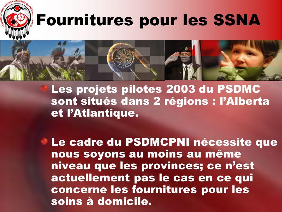 Fournitures pour les SSNA Les projets pilotes 2003 du PSDMC sont situés dans 2 régions : lAlberta et lAtlantique. Le cadre du PSDMCPNI nécessite que n