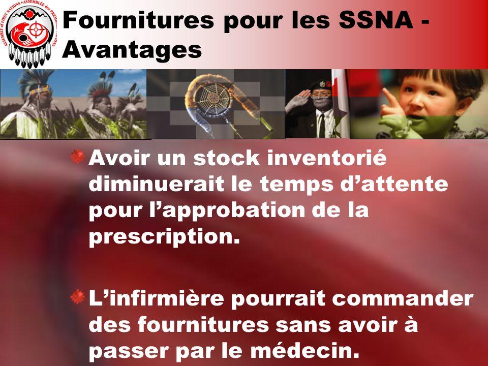 Fournitures pour les SSNA - Avantages Avoir un stock inventorié diminuerait le temps dattente pour lapprobation de la prescription. Linfirmière pourra