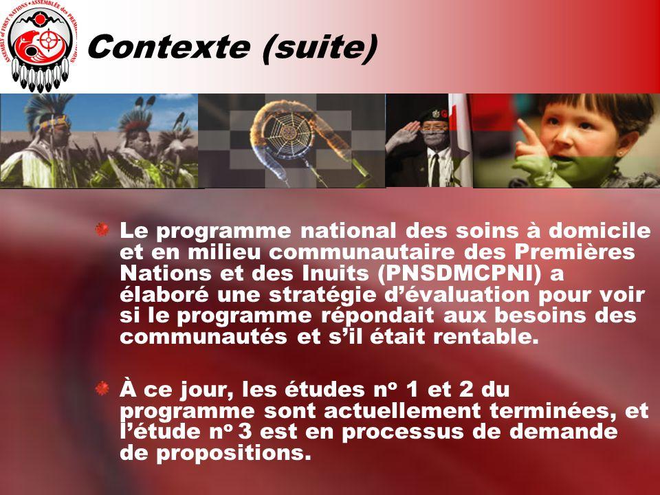 Contexte (suite) Le programme national des soins à domicile et en milieu communautaire des Premières Nations et des Inuits (PNSDMCPNI) a élaboré une s