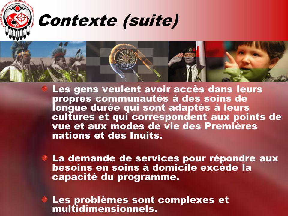 Contexte (suite) Les gens veulent avoir accès dans leurs propres communautés à des soins de longue durée qui sont adaptés à leurs cultures et qui correspondent aux points de vue et aux modes de vie des Premières nations et des Inuits.