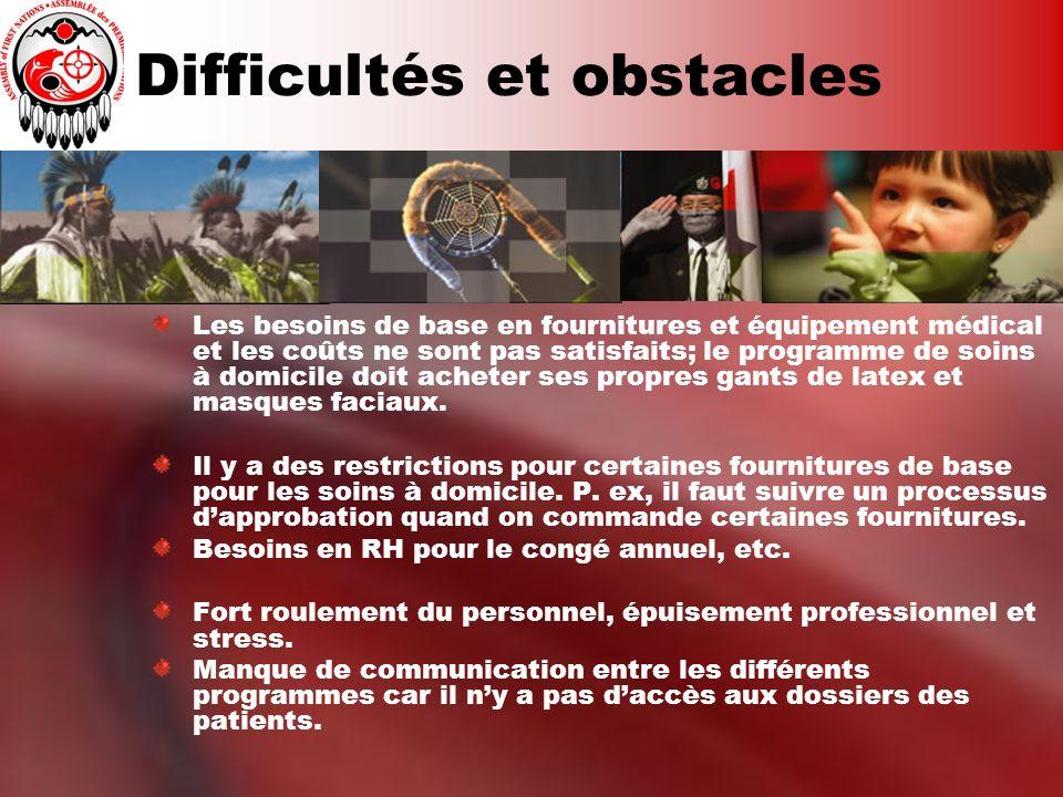 Difficultés et obstacles Les besoins de base en fournitures et équipement médical et les coûts ne sont pas satisfaits; le programme de soins à domicil