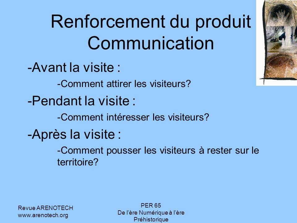 Revue ARENOTECH www.arenotech.org PER 65 De lère Numérique à lère Préhistorique Renforcement du produit Communication -Avant la visite : -Comment attirer les visiteurs.