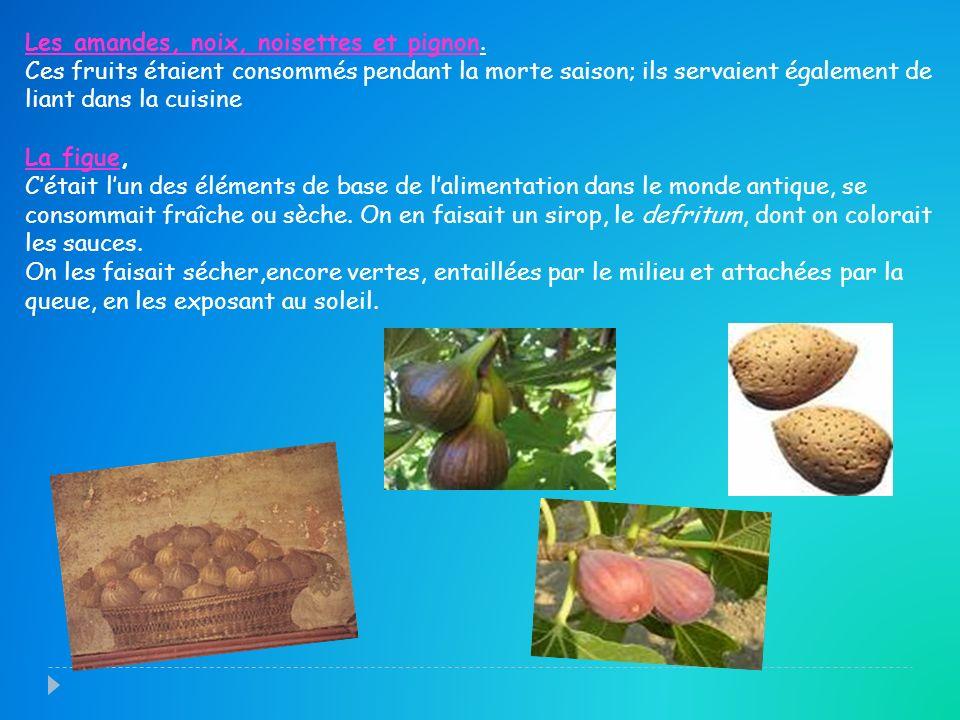 Les amandes, noix, noisettes et pignon. Ces fruits étaient consommés pendant la morte saison; ils servaient également de liant dans la cuisine La figu