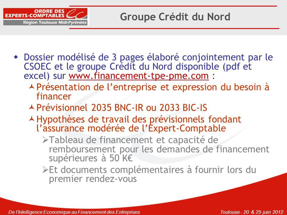 De lIntelligence Economique au Financement des EntreprisesToulouse - 20 & 25 juin 2012 Groupe Crédit du Nord Modalités pratiques Réaliser une demande de crédit en ligne sur : https://www.banque- courtois.fr/instit/IPI/appmanager/instit/professionnels Ou https://www.credit-du- nord.fr/instit/IPI/appmanager/instit/professionnels …https://www.credit-du- nord.fr/instit/IPI/appmanager/instit/professionnels Transmettre par voie électronique le dossier excel de demande de financement modélisé à linterlocuteur communiqué par la banque du groupe Crédit du Nord ou se rendre directement à lagence bancaire