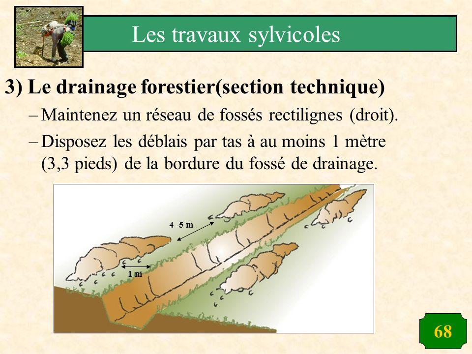 68 3) Le drainage forestier(section technique) –Maintenez un réseau de fossés rectilignes (droit). –Disposez les déblais par tas à au moins 1 mètre (3