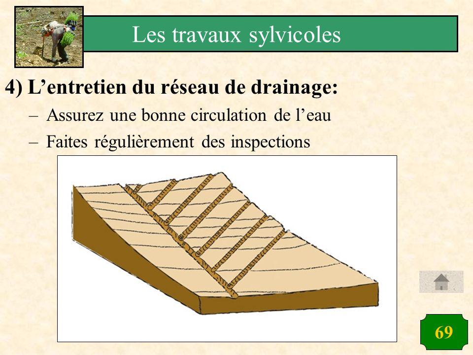 69 4) Lentretien du réseau de drainage: –Assurez une bonne circulation de leau –Faites régulièrement des inspections Les travaux sylvicoles
