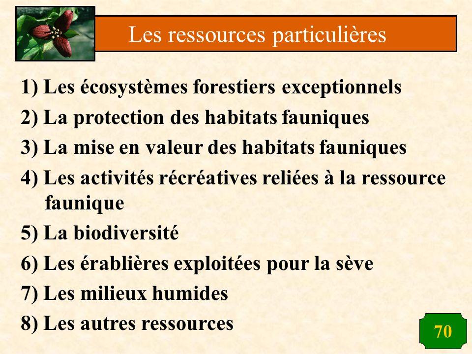 70 1) Les écosystèmes forestiers exceptionnels 2) La protection des habitats fauniques 3) La mise en valeur des habitats fauniques 4) Les activités ré