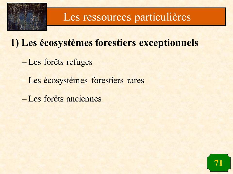 71 1) Les écosystèmes forestiers exceptionnels –Les forêts refuges –Les écosystèmes forestiers rares –Les forêts anciennes Les ressources particulière