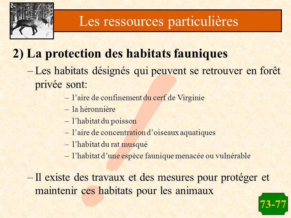 73-77 2) La protection des habitats fauniques –Les habitats désignés qui peuvent se retrouver en forêt privée sont: –laire de confinement du cerf de V