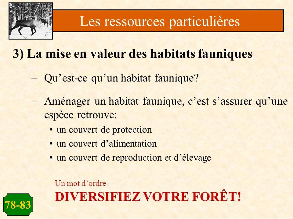 78-83 3) La mise en valeur des habitats fauniques –Quest-ce quun habitat faunique? –Aménager un habitat faunique, cest sassurer quune espèce retrouve: