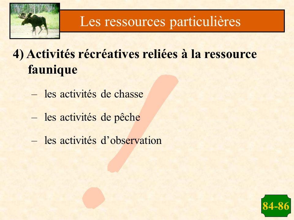 84-86 4) Activités récréatives reliées à la ressource faunique –les activités de chasse –les activités de pêche –les activités dobservation Les ressou