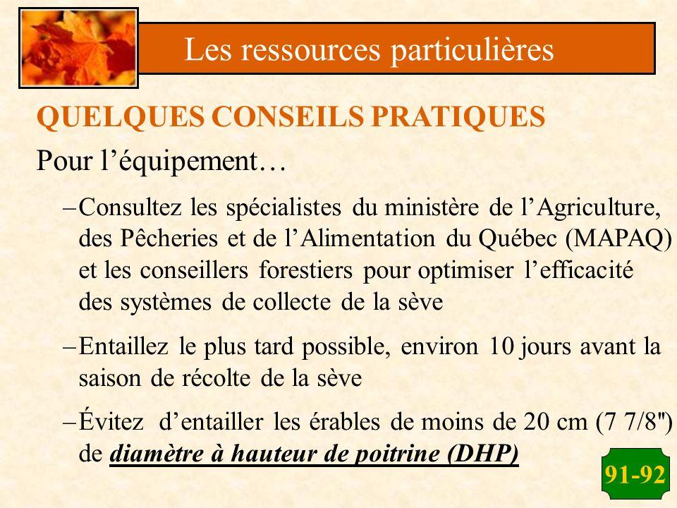 91-92 QUELQUES CONSEILS PRATIQUES Pour léquipement… –Consultez les spécialistes du ministère de lAgriculture, des Pêcheries et de lAlimentation du Qué