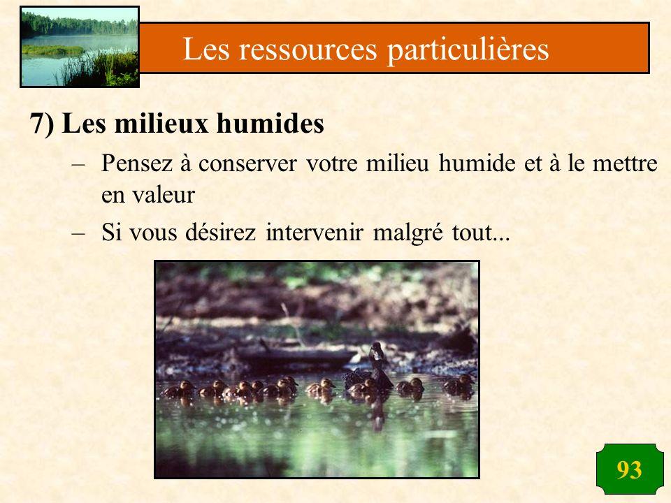93 7) Les milieux humides –Pensez à conserver votre milieu humide et à le mettre en valeur –Si vous désirez intervenir malgré tout... Les ressources p