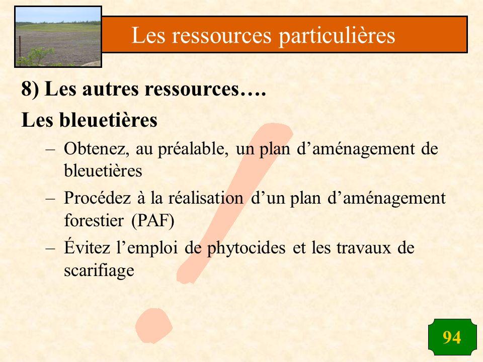 94 8) Les autres ressources…. Les bleuetières –Obtenez, au préalable, un plan daménagement de bleuetières –Procédez à la réalisation dun plan daménage