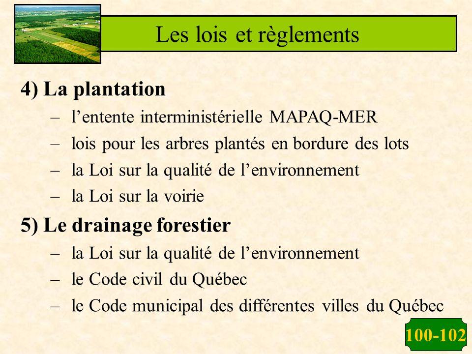100-102 Les lois et règlements 4) La plantation –lentente interministérielle MAPAQ-MER –lois pour les arbres plantés en bordure des lots –la Loi sur l
