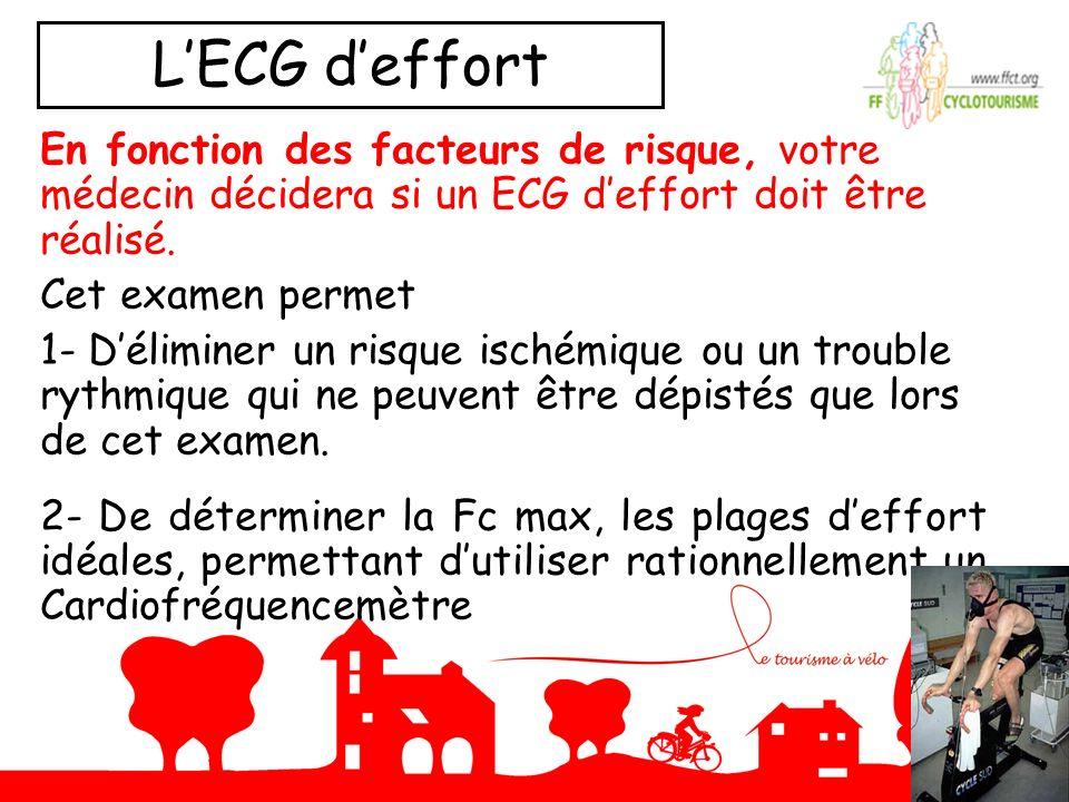 LECG deffort En fonction des facteurs de risque, votre médecin décidera si un ECG deffort doit être réalisé. Cet examen permet 1- Déliminer un risque