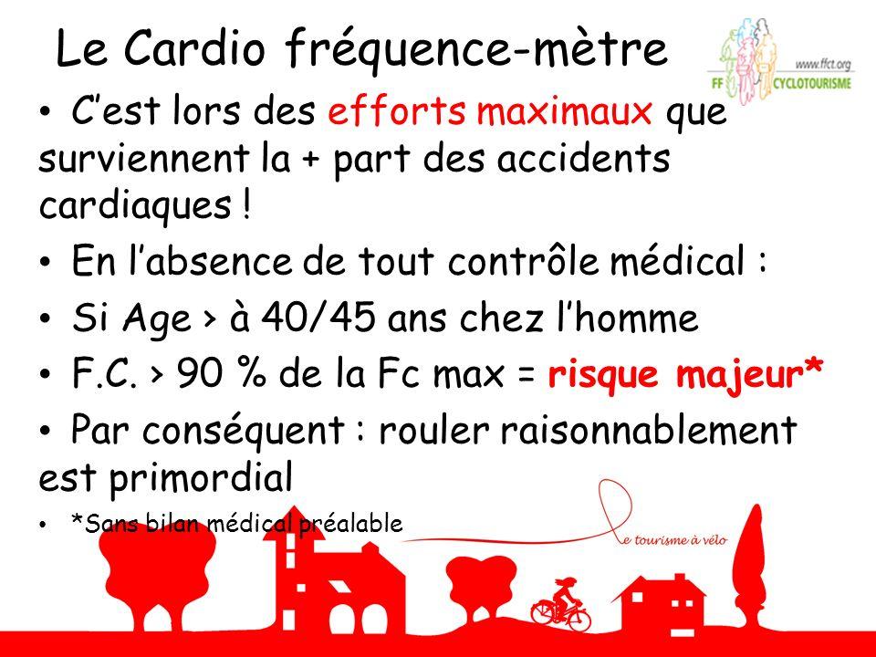 Le Cardio fréquence-mètre Cest lors des efforts maximaux que surviennent la + part des accidents cardiaques ! En labsence de tout contrôle médical : S