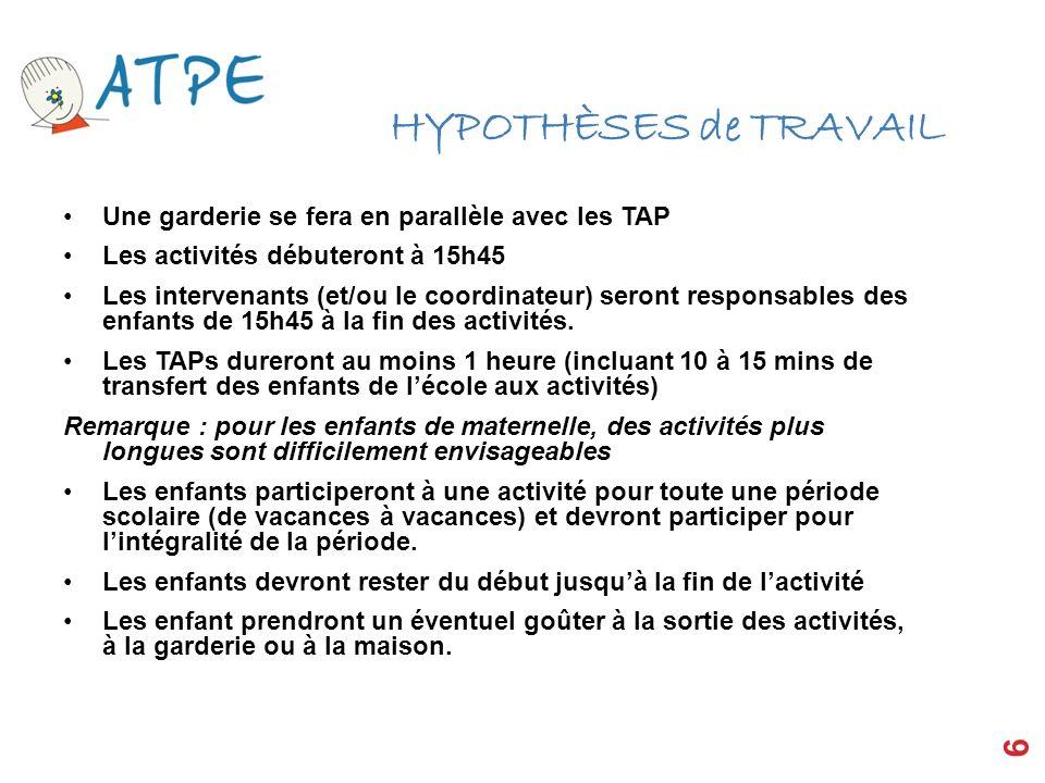 HYPOTHÈSES de TRAVAIL Une garderie se fera en parallèle avec les TAP Les activités débuteront à 15h45 Les intervenants (et/ou le coordinateur) seront