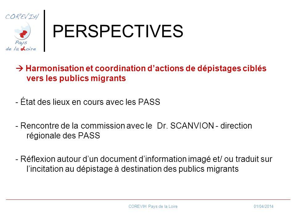 01/04/2014COREVIH Pays de la Loire PERSPECTIVES Harmonisation et coordination dactions de dépistages ciblés vers les publics migrants - État des lieux en cours avec les PASS - Rencontre de la commission avec le Dr.