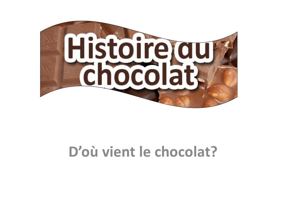 Les premiers civilisations qui ont utilisé le chocolat etaient les civilisations précolombiennes: Les Aztèques Les Mayas Les Incas