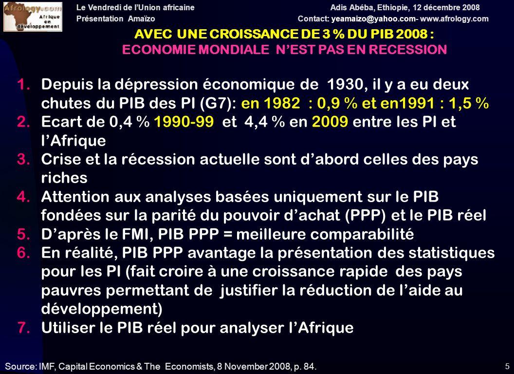 Le Vendredi de lUnion africaine Adis Abéba, Ethiopie, 12 décembre 2008 Présentation Amaïzo Contact: yeamaizo@yahoo.com- www.afrology.com 16 PRIX MONDIAUX EN $ US : 2001-2009 (en % changement annuel) Source: A partir de IMF, WEO 2008, p.
