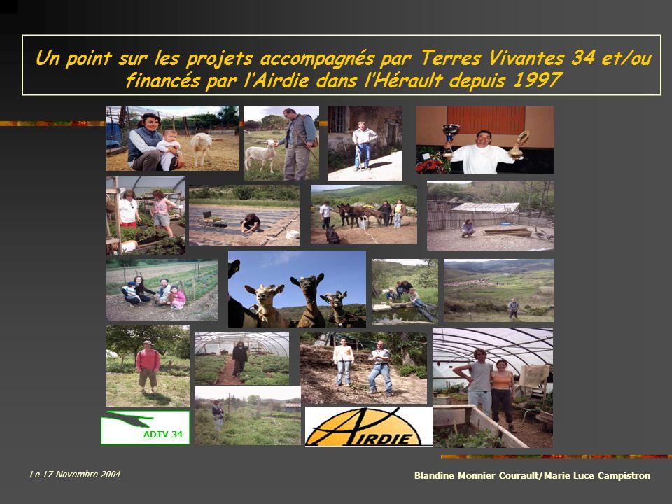 Un point sur les projets accompagnés par Terres Vivantes 34 et/ou financés par lAirdie dans lHérault depuis 1997 Blandine Monnier Courault/Marie Luce Campistron Le 17 Novembre 2004 ADTV 34