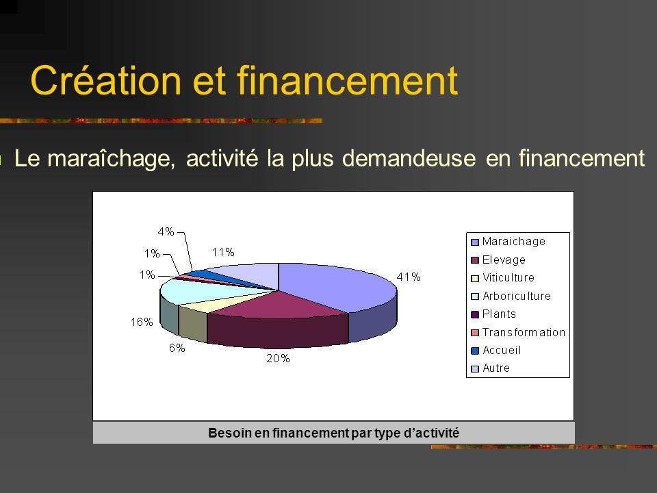 Création et financement Le maraîchage, activité la plus demandeuse en financement Besoin en financement par type dactivité