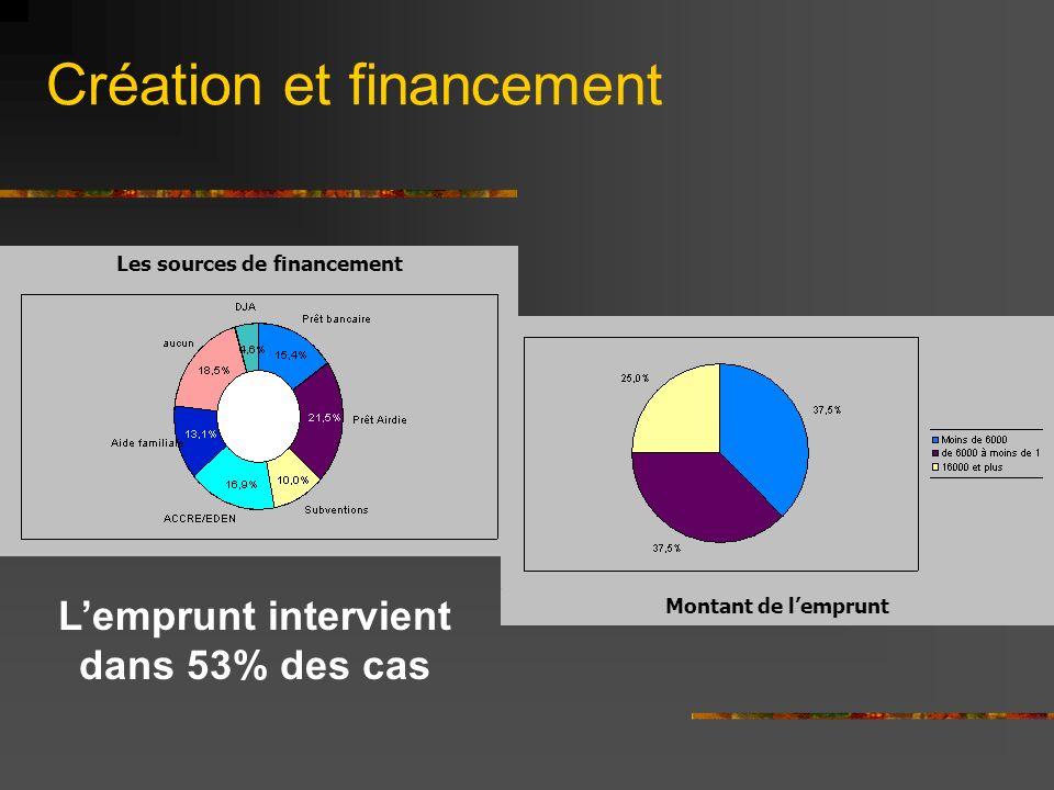 Création et financement Lemprunt intervient dans 53% des cas Montant de lemprunt Les sources de financement