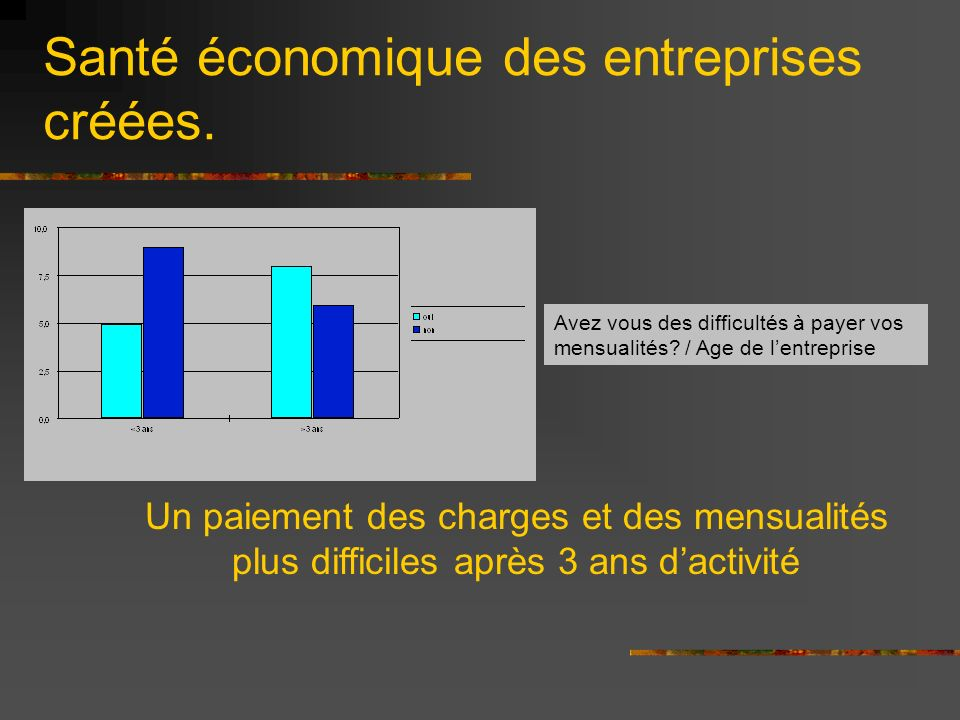 Santé économique des entreprises créées.Avez vous des difficultés à payer vos mensualités.