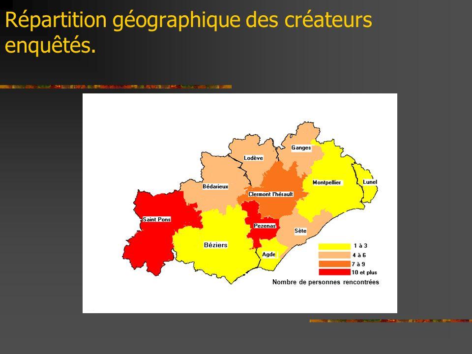 Nombre de personnes rencontrées Répartition géographique des créateurs enquêtés.