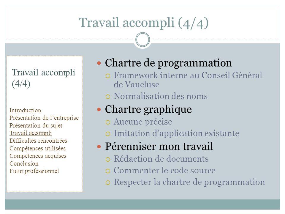 Chartre de programmation Framework interne au Conseil Général de Vaucluse Normalisation des noms Chartre graphique Aucune précise Imitation dapplicati