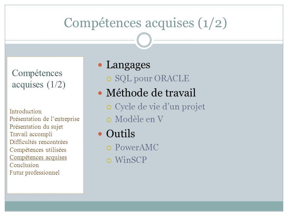 Langages SQL pour ORACLE Méthode de travail Cycle de vie dun projet Modèle en V Outils PowerAMC WinSCP Compétences acquises (1/2) Introduction Présent