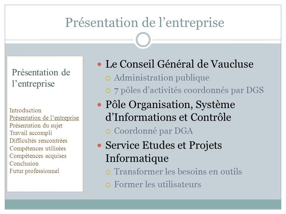 Le Conseil Général de Vaucluse Administration publique 7 pôles dactivités coordonnés par DGS Pôle Organisation, Système dInformations et Contrôle Coor